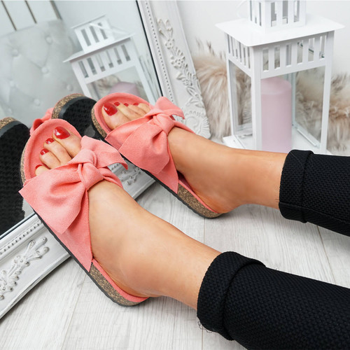 Issil Watermelon Red Bow Flat Sandals