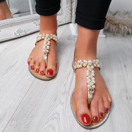 Wote Gold T Strap Pearl Flat Sandals