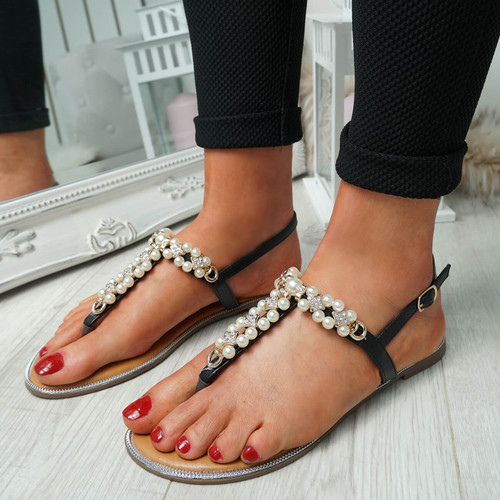 Wote Black T Strap Pearl Flat Sandals