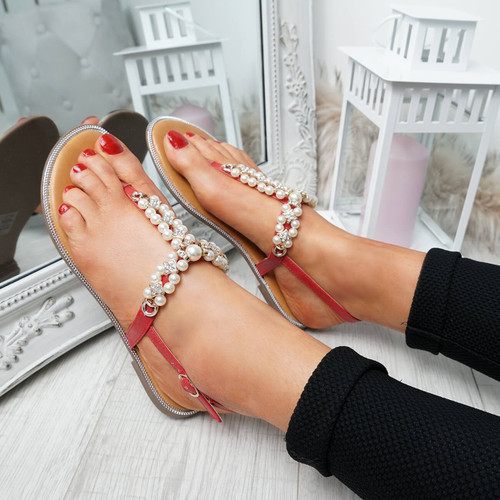 Wote Red T Strap Pearl Flat Sandals