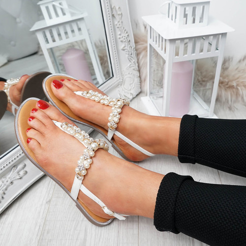Wote White T Strap Pearl Flat Sandals