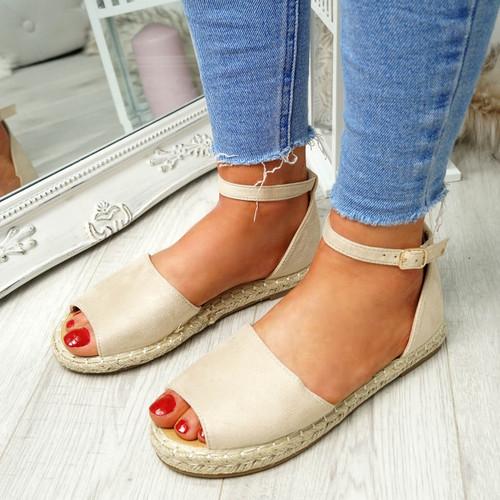 Lorre Beige Espadrille Flat Sandals