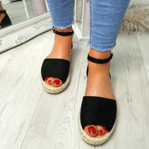Lorre Black Espadrille Flat Sandals