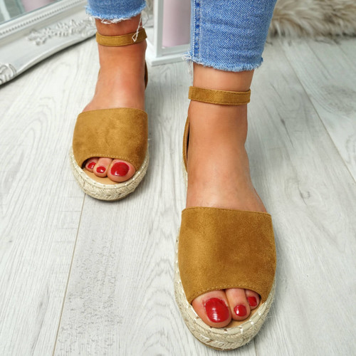 Lorre Camel Espadrille Flat Sandals
