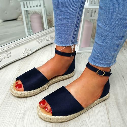 Lorre Dark Blue Espadrille Flat Sandals