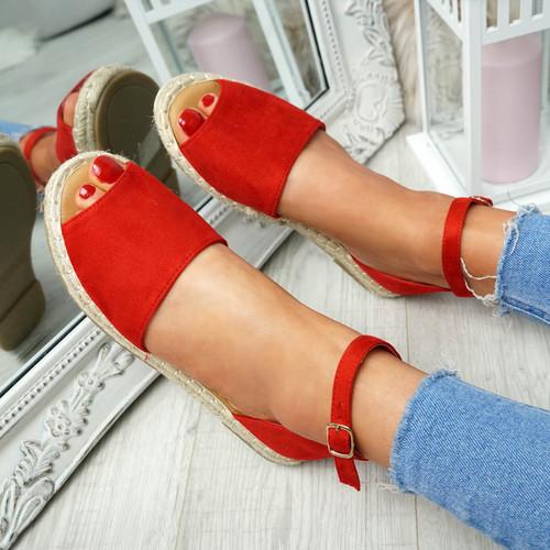 Lorre Red Espadrille Flat Sandals
