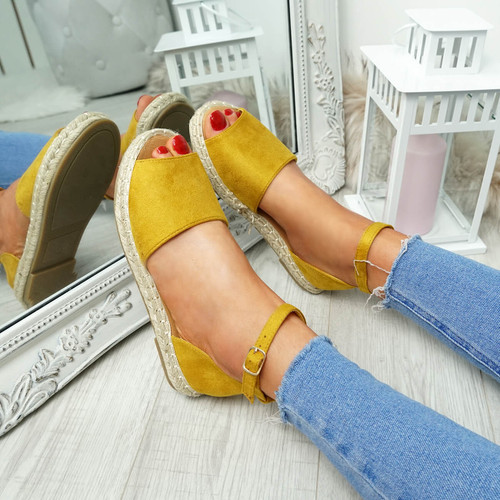 Lorre Yellow Espadrille Flat Sandals