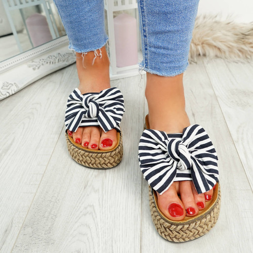 Hona Blue Bow Flatform Sandals