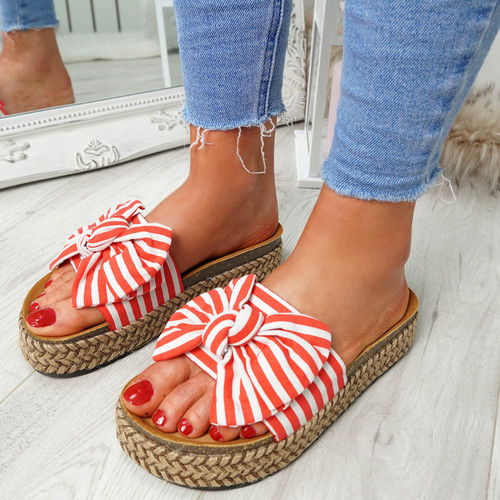 Hona Red Bow Flatform Sandals