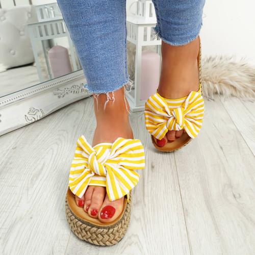 Hona Yellow Bow Flatform Sandals