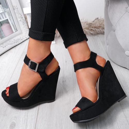 Dinna Black Wedge Platform Sandals
