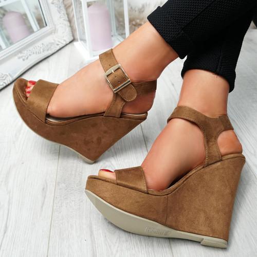 Dinna Camel Wedge Platform Sandals