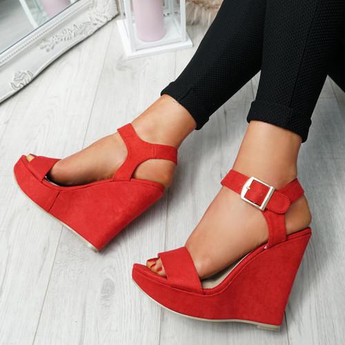 Dinna Red Wedge Platform Sandals