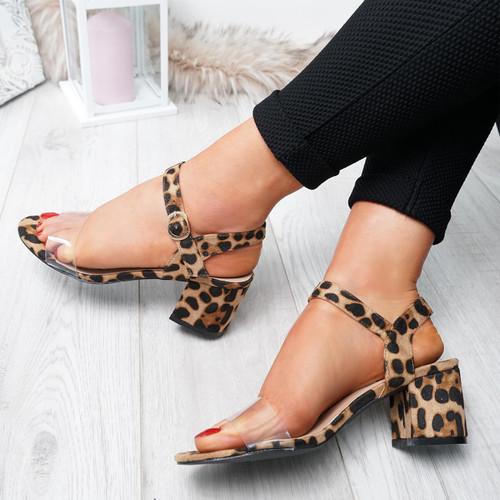 Firre Leopard Ankle Strap Mid Heel Sandals