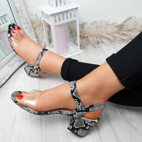 Firre Snake Ankle Strap Mid Heel Sandals