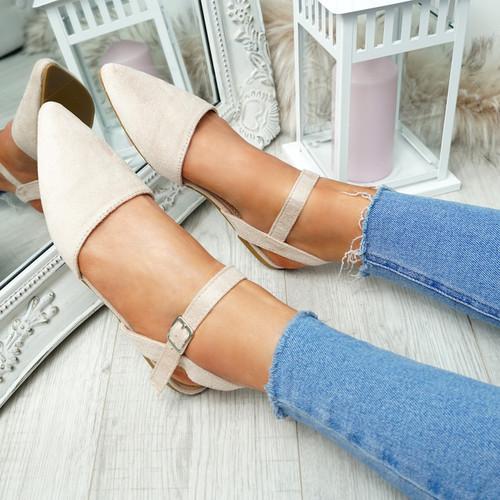 Tenna Apricot Ankle Strap Flat Ballerinas