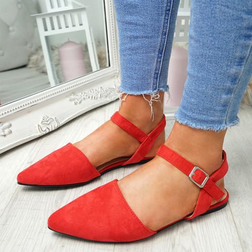 Tenna Red Ankle Strap Flat Ballerinas