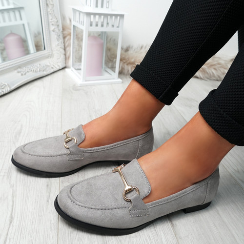Itka Grey Slip On Loafers