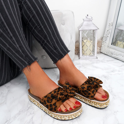 Cannya Leopard Bow Flatforms