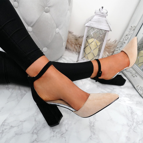 Amara Nude Block Heel Pumps