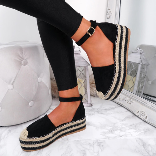 Lauryn Black Espadrille Flatforms