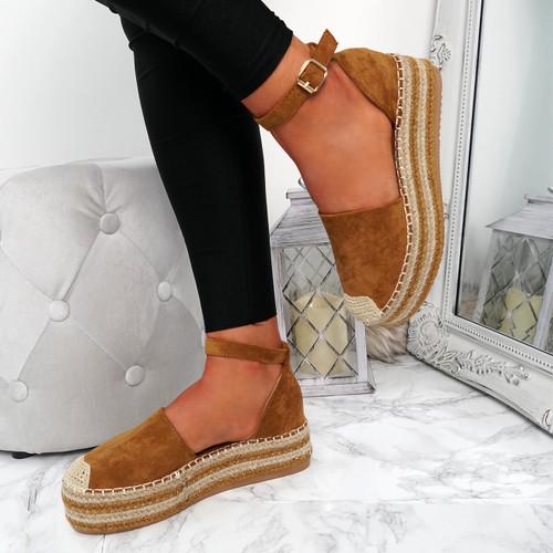Lauryn Camel Espadrille Flatforms
