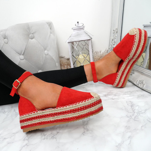 Lauryn Red Espadrille Flatforms