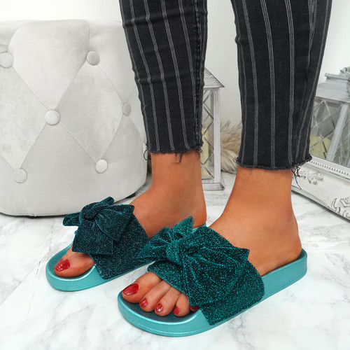 Kayden Blue Glitter Bow Sliders