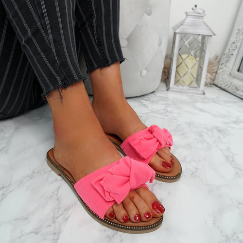 Stacy Fuchsia Bow Sliders