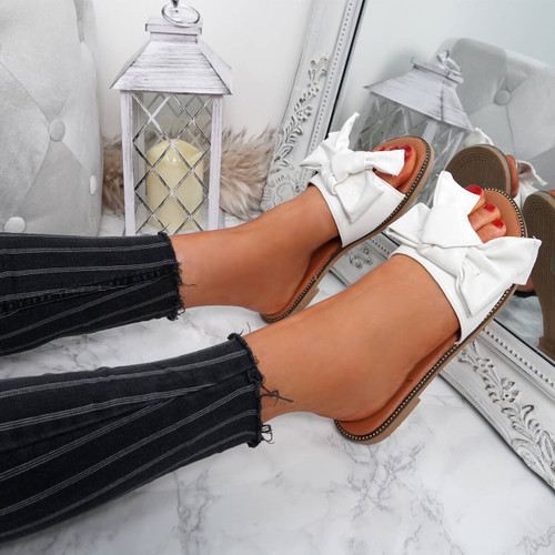 Stacy White Bow Sliders
