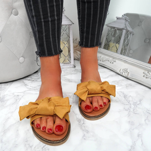 Stacy Yellow Bow Sliders