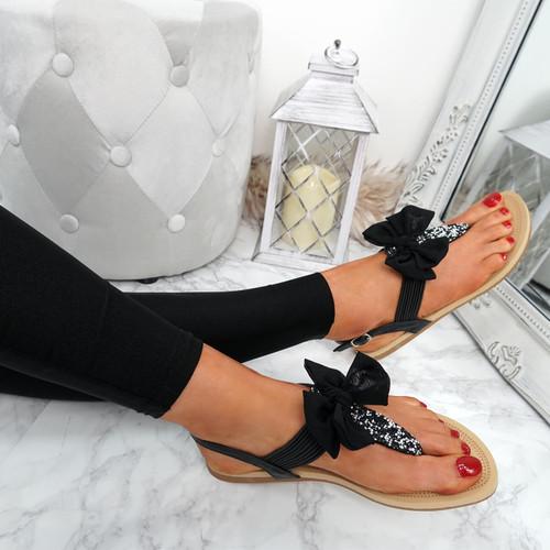 Kimora Black T Strap Glitter Sandals