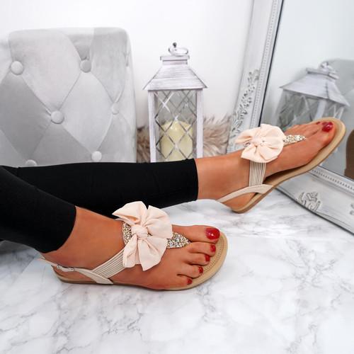 Kimora Beige T Strap Glitter Sandals