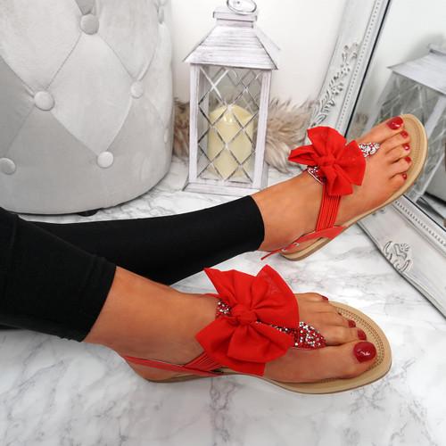 Kimora Red T Strap Glitter Sandals