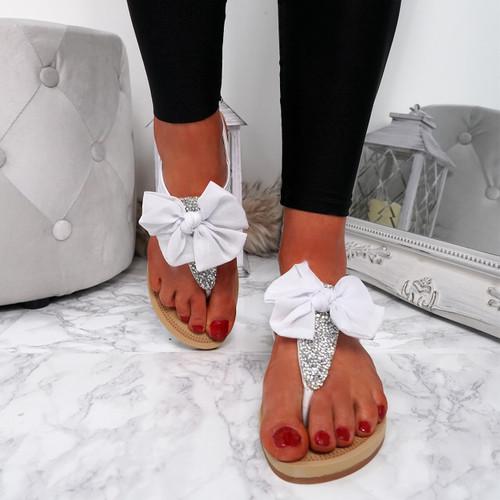Kimora White T Strap Glitter Sandals