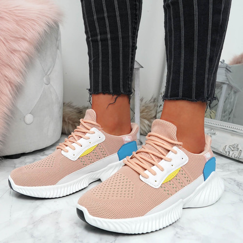 Shannon Pink Lace Up Trainers