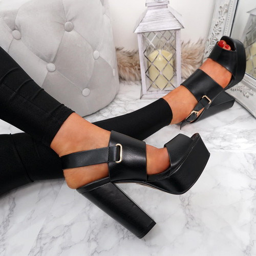 Shania Black Very High Block Heel Sandals