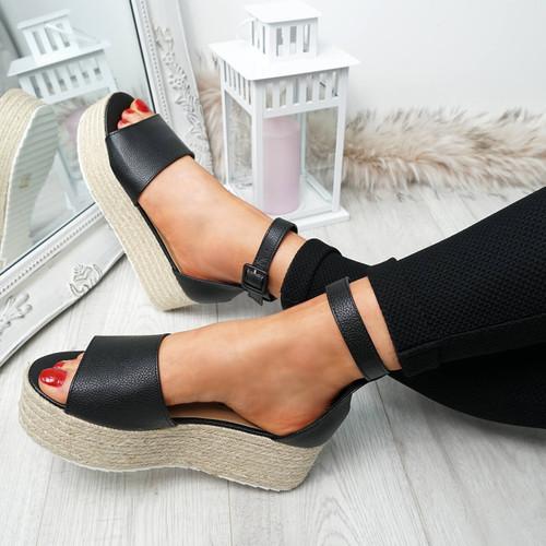 Kianna Black Pu Espadrille Flatforms