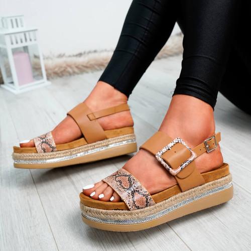 Elaina Camel Diamante Studs Sandals