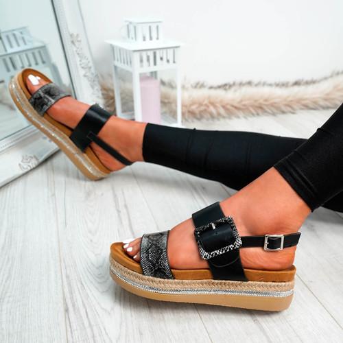 Elaina Black Diamante Studs Sandals