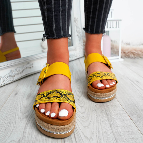 Elaina Yellow Diamante Studs Sandals