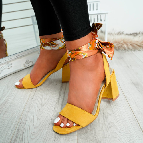 Hana Yellow Ankle Wrap Sandals