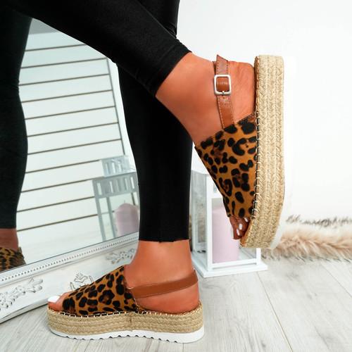 Raina Leopard Buckle Flatforms