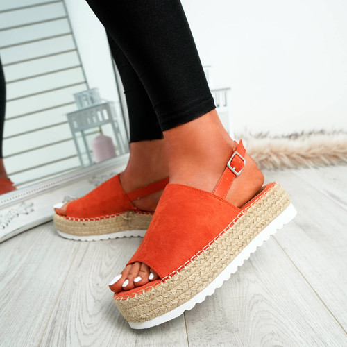 Raina Orange Buckle Flatforms