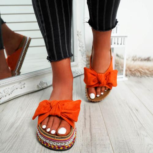 Braelyn Orange Bow Flatforms