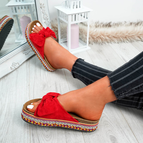 Braelyn Red Bow Flatforms