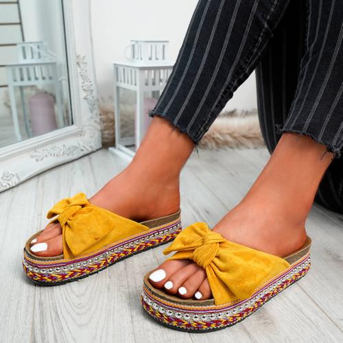 Braelyn Yellow Bow Flatforms