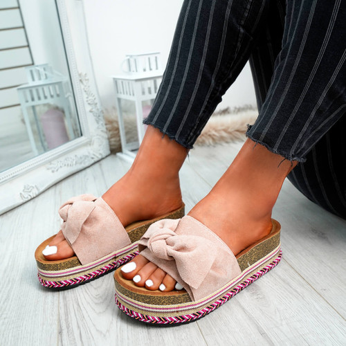 Kaila Pink Bow Sliders