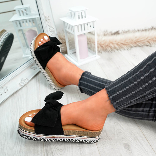 Kaila Black Bow Sliders