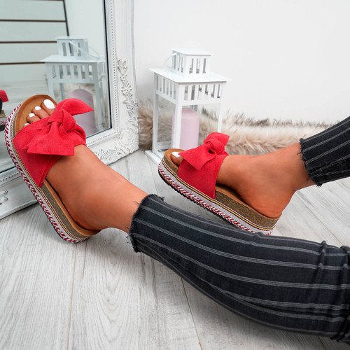 Kaila Red Bow Sliders